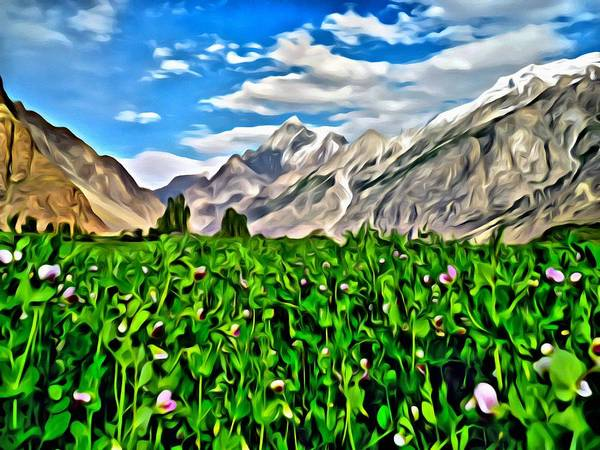 Nature Poster featuring the painting Kashmir Field by Florian Rodarte