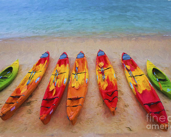 Kayaks Poster featuring the photograph Kayaks at Manly by Sheila Smart Fine Art Photography
