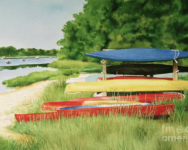 Bass River Poster featuring the painting Kayaks In Limbo by Karol Wyckoff