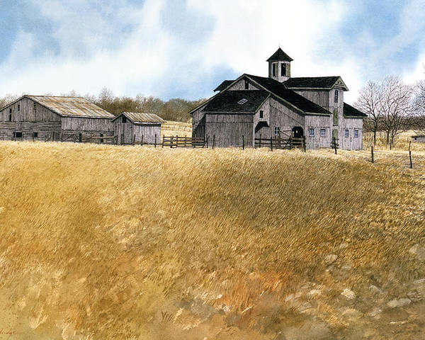 Landscape Poster featuring the painting Kentucky Farm by Tom Wooldridge