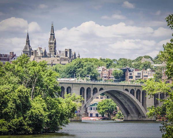 Bradley Clay Poster featuring the photograph Key Bridge And Georgetown University by Bradley Clay