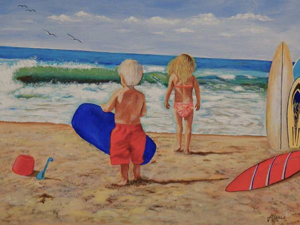 Seascape Poster featuring the painting Kids at the Beach by Jim Reale