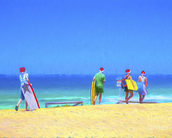 Children In Santa Hats Poster featuring the photograph Kids in santa hats at beach by Sheila Smart Fine Art Photography