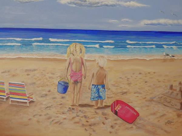 Kids Poster featuring the painting Kids on the beach by Jim Reale