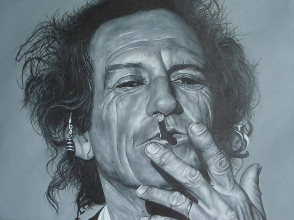 Keith Richards Poster featuring the painting Keith Richards by David Dunne