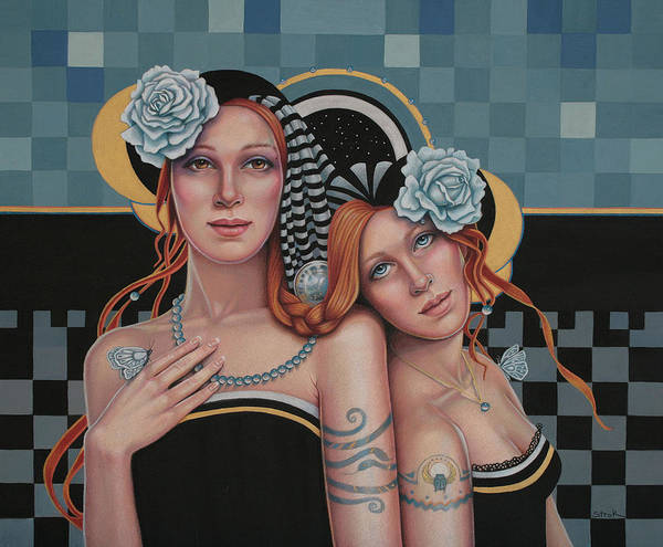 Figurative Poster featuring the mixed media Kindred Spirits by Susan Helen Strok
