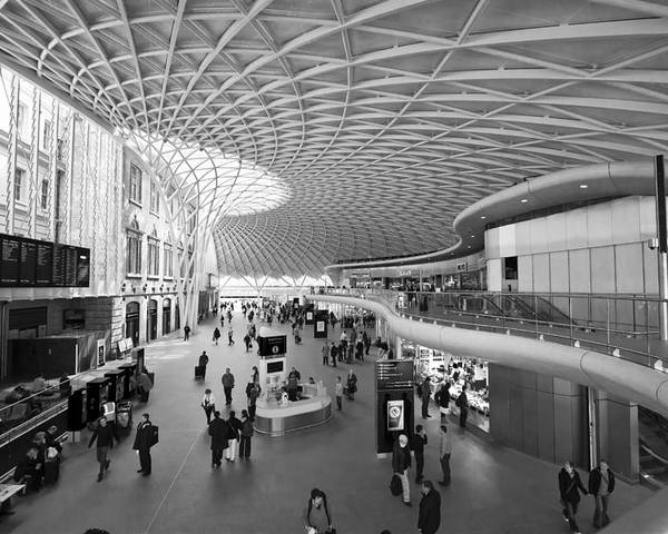 Stations Poster featuring the photograph Kings Cross Railway Station London Bw by David French