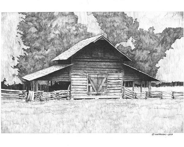 Pen And Ink Poster featuring the drawing King's Mountain Barn by Paul Shafranski