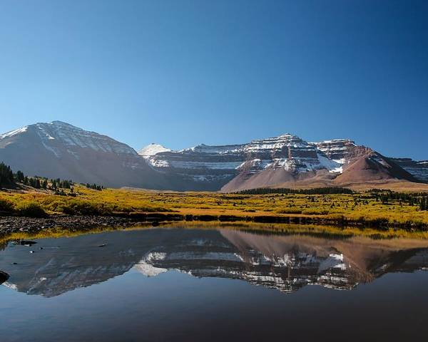 Mountains Poster featuring the photograph Kings Peak And The Pond by Mitch Johanson