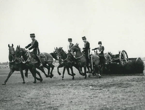 retro Images Archive Poster featuring the photograph King�s Troop Of The R.h.a. Rehearse�. Even The Gun Goes by Retro Images Archive
