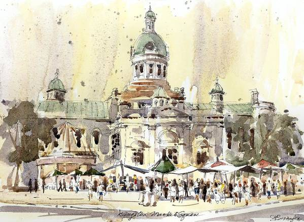 Kingston Poster featuring the painting Kingston Market Square by David Gilmore
