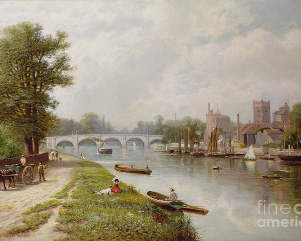 Bridge Poster featuring the painting Kingston On Thames by Robert Finlay McIntyre