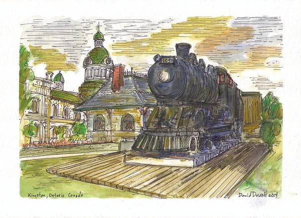 Train Poster featuring the painting Kingston Ontario Canada by David Dossett