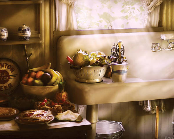 Savad Poster featuring the photograph Kitchen - A 1930's Kitchen by Mike Savad