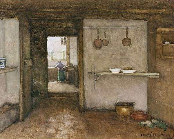 House Poster featuring the drawing Kitchen Interior, C.1899 by Johannes Hendrik Weissenbruch