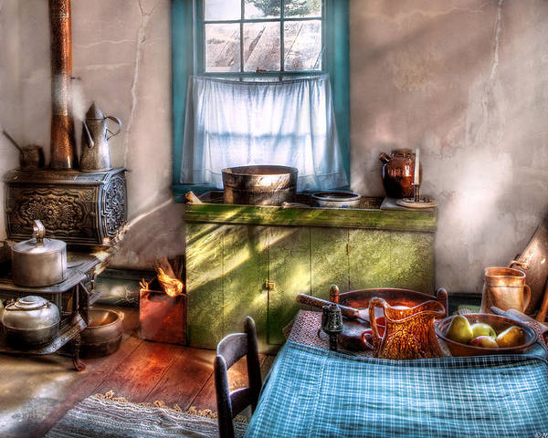Savad Poster featuring the photograph Kitchen - Old Fashioned Kitchen by Mike Savad