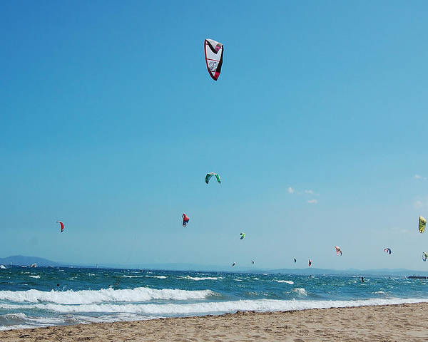 Kite Surf Poster featuring the photograph Kitesurf Lovers by Gina Dsgn