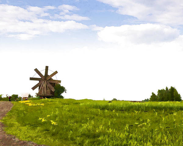 Landscape Poster featuring the photograph Kizhi Island Windmill Russia by Glen Glancy