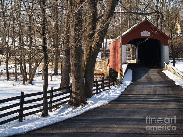 Bridge Poster featuring the photograph Knecht's Bridge On Snowy Day - Bucks County by Anna Lisa Yoder
