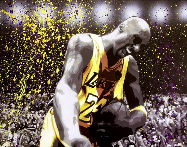 Kobe Poster featuring the painting Kobe by Bobby Zeik
