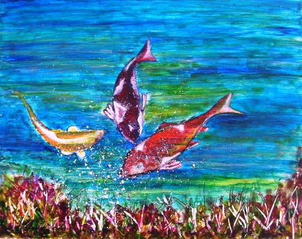 Fish Koi Bubbles Underwater Grass Landscape Yupo Paper Blue Red Yellow Abstract Green Feng Poster featuring the painting Koi and Joy Fish by Manjiri Kanvinde