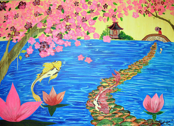 Yellow Poster featuring the painting Koi Dreams by Sarah Tiffany King