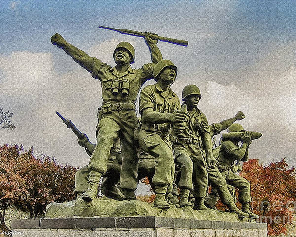 Korean War Memorial Poster featuring the painting Korean War Veterans Memorial South Korea by Bob and Nadine Johnston