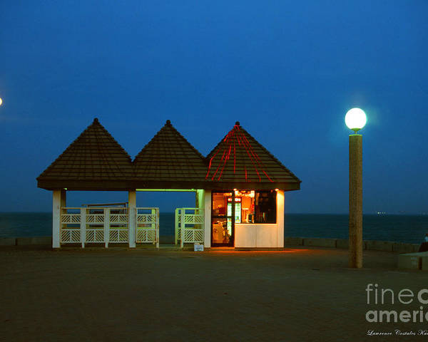 Pier Poster featuring the photograph Kuwaiti Pier Snack Bar At Dusk by Lawrence Costales