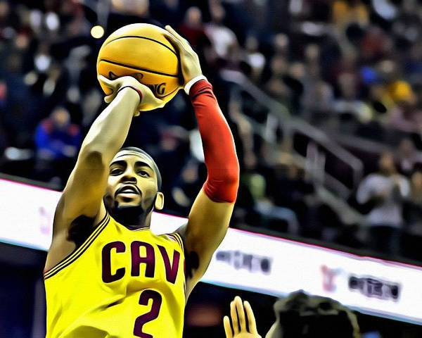 4696d4ba709 Nba Poster featuring the painting Kyrie Irving Jumpshot by Florian Rodarte