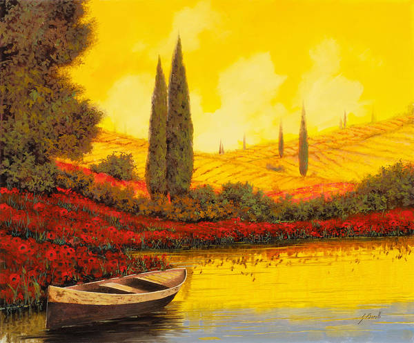 Sky Yellow Poster featuring the painting La Barca Al Tramonto by Guido Borelli