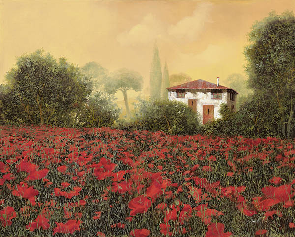 Summer Poster featuring the painting La Casa E I Papaveri by Guido Borelli