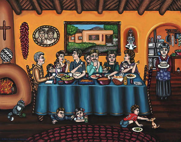 Hispanic Art Poster featuring the painting La Familia Or The Family by Victoria De Almeida