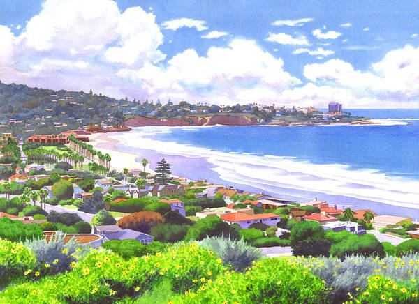 Landscape Poster featuring the painting La Jolla California by Mary Helmreich