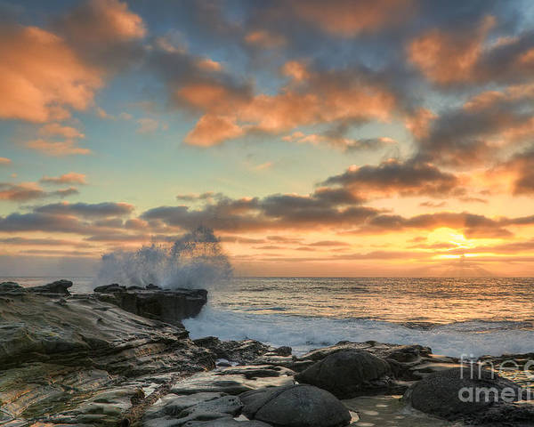La Jolla Poster featuring the photograph La Jolla Cove At Sunset by Eddie Yerkish