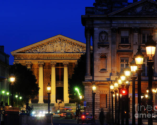 Paris Poster featuring the photograph La Madeleine At Night by Colin Woods