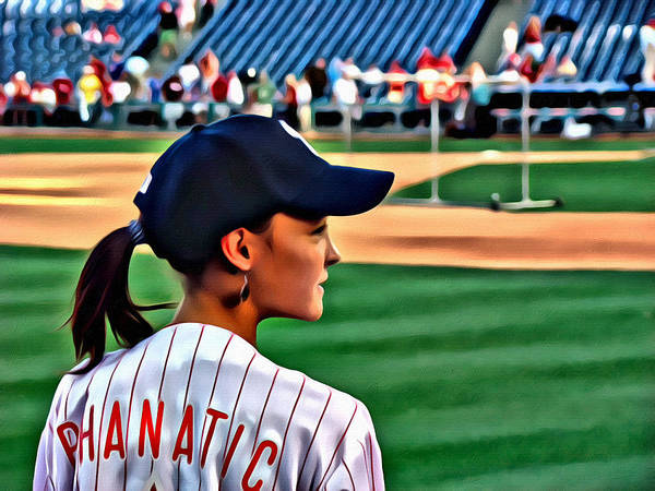 Phanatic Philly Lady Baseball Portrait Alicegipsonphotographs Poster featuring the photograph Lady Phanatic by Alice Gipson