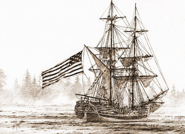 Lady Washington Drawing Poster featuring the drawing Lady Washington At Friendly Cove Sepia by James Williamson