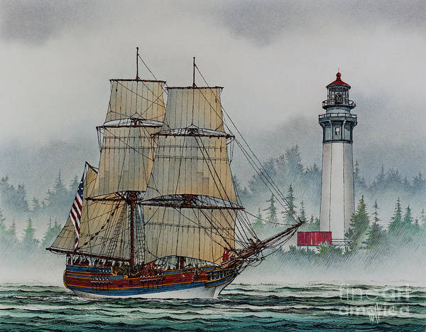 Tall Ship Print Poster featuring the painting Lady Washington At Grays Harbor by James Williamson