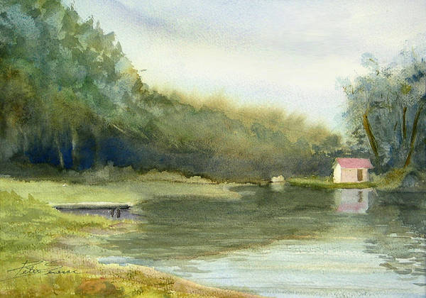 Landscape Poster featuring the painting Lake House by Peter Senesac