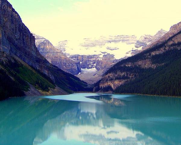 Lake Louise Poster featuring the photograph Lake Louise Stillness by Karen Wiles
