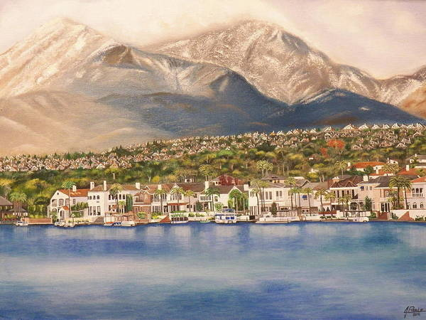 Poster featuring the painting Lake Mission Viejo CA by Jim Reale