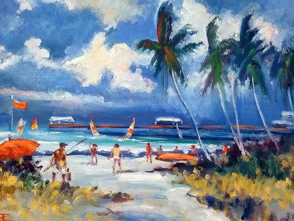 Seaside With Pier Poster featuring the painting Lakeworth Beach Sketch by Philip Corley