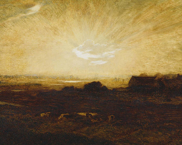 Sun Poster featuring the painting Landscape At Sunset by Marie Auguste Emile Rene Menard