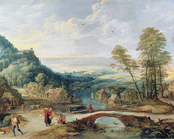 Village Poster featuring the painting Landscape by Joos or Josse de, The Younger Momper