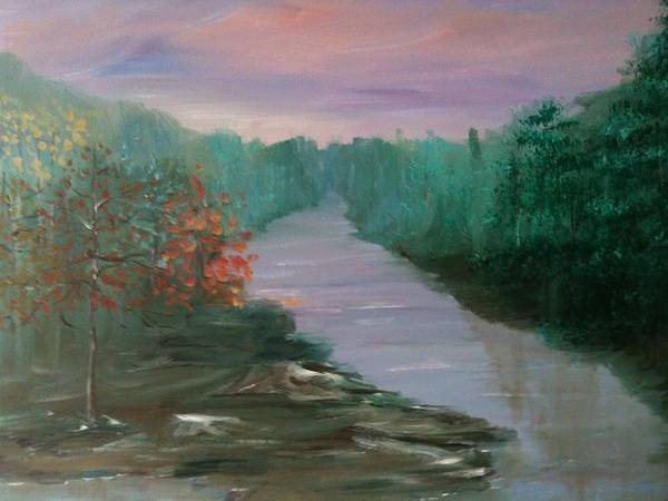 Landscape Poster featuring the painting River Dreamscape by Laura Inniger