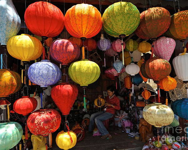 Paper Poster featuring the photograph Lanterns Hanging In Shop In Hoi An by Sami Sarkis