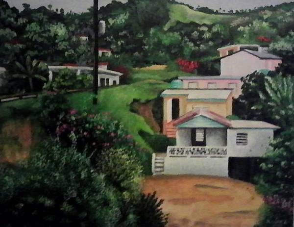 Landscape Poster featuring the painting Lares Puerto Rico by Ramon Lopez Collazo