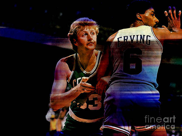 Bird Paintings Poster featuring the mixed media Larry Bird by Marvin Blaine