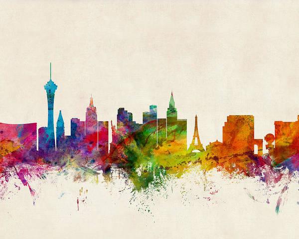 City Poster featuring the digital art Las Vegas Nevada Skyline by Michael Tompsett