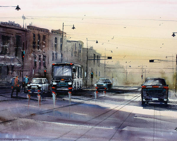 Ryan Radke Poster featuring the painting Last Light - College Ave. by Ryan Radke